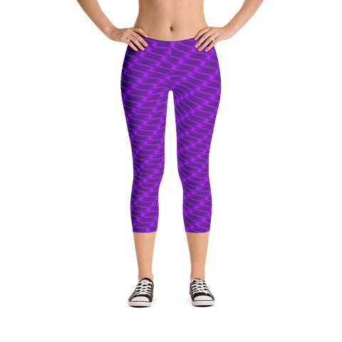 Neon Wavy Lines Purple Capri Leggings - Stradling Designs