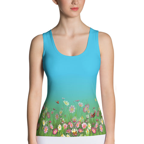 Printful Flowers-Grasses Border Print Tank Top Front View