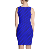 Neon Wavy Lines Blue Dress - Stradling Designs