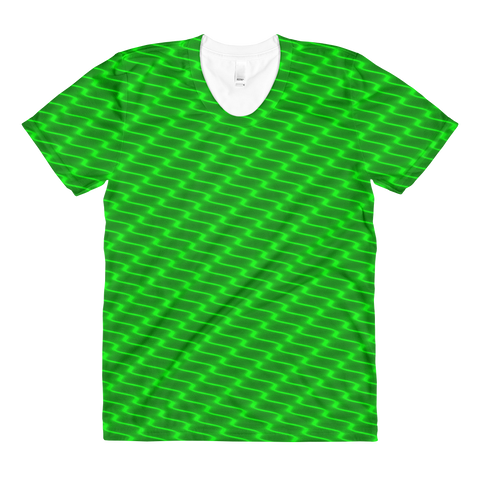 Neon Wavy Lines Green Women's Crew Neck T-shirt - Stradling Designs