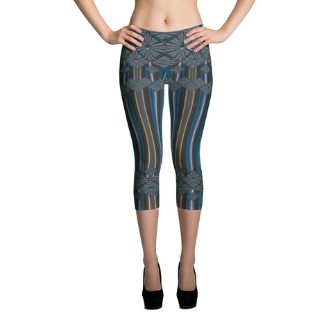 Metallic Diamonds and Stripes 5 All-over Capri Leggings - Stradling Designs
