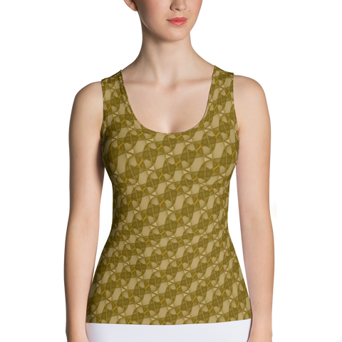 Ribbons Tank Top Gold - Stradling Designs