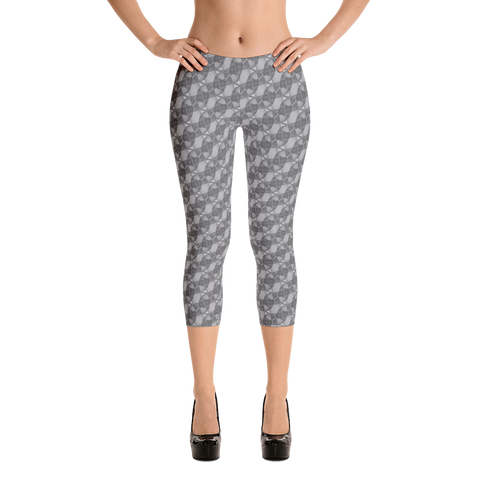 Ribbons Capri Leggings Silver - Stradling Designs
