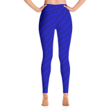 Neon Wavy Lines Blue Yoga Leggings - Stradling Designs