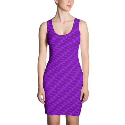 Neon Wavy Lines Purple Dress - Stradling Designs