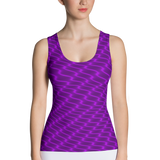 Neon Wavy Lines Purple Tank Top - Stradling Designs