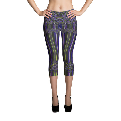 Metallic Diamonds and Stripes 4 All-over Capri Leggings - Stradling Designs