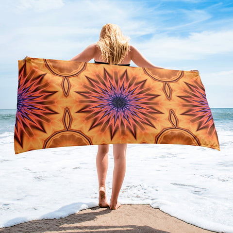 Fire Sunflower Beach Towel