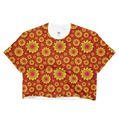 Geometric Sun 01 All-over Ladies Crop Top - Stradling Designs