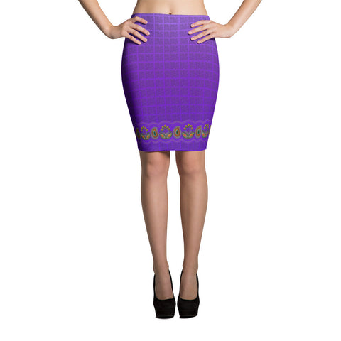 Printful Flower Border in Purple Pencil Skirt Front View