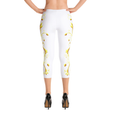 Yellow Roses Full-Up on White Capri Leggings - Stradling Designs