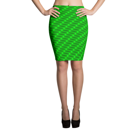 Neon Wavy Lines Green Pencil Skirt