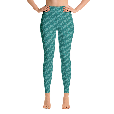 Ribbons Yoga Leggings Turquoise - Stradling Designs