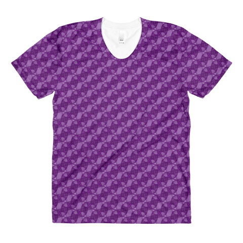 Ribbons Women's Crew Neck T-shirt Purple - Stradling Designs