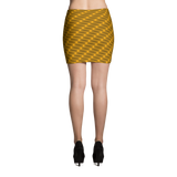 Neon Wavy Lines Gold Mini Skirt - Stradling Designs