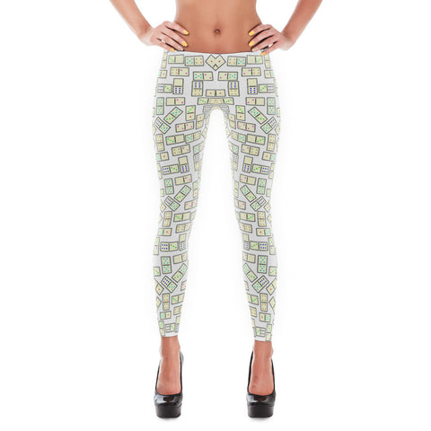 Domino Tiles Leggings White - Stradling Designs