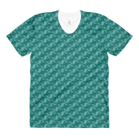 Ribbons Women's Crew Neck T-shirt Turquoise - Stradling Designs