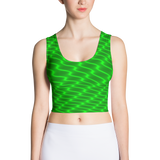 Neon Wavy Lines Green Crop Top - Stradling Designs
