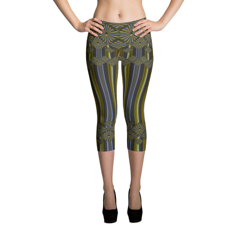 Metallic Diamonds and Stripes 9 All-over Capri Leggings - Stradling Designs