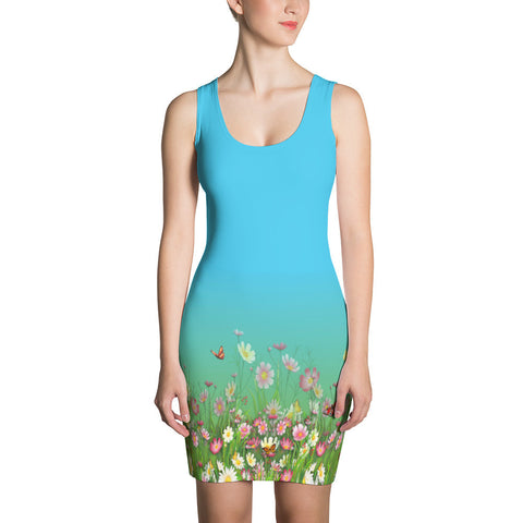 Flowers-Grasses Border Print Dress - Stradling Designs