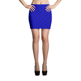 Neon Wavy Lines Blue Mini Skirt - Stradling Designs