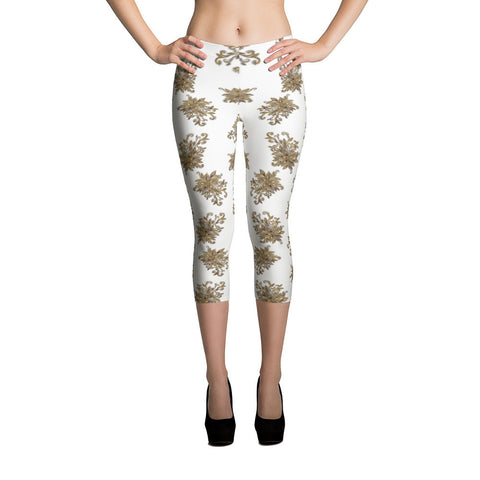 Gold Flower 11 All-over Capri Leggings - Stradling Designs