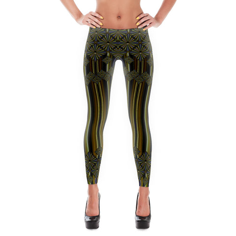 Metallic Diamonds and Stripes 9 All-over Leggings - Stradling Designs