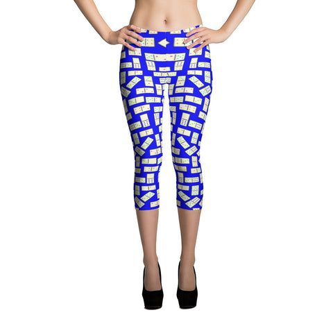 Domino Tiles on Blue Capri Leggings - Stradling Designs