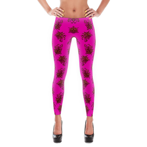 Printful Gold Flower 7 All-over Leggings Front View