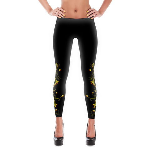 Printful Yellow Roses Half-Up on Black All-Over Leggings Front View
