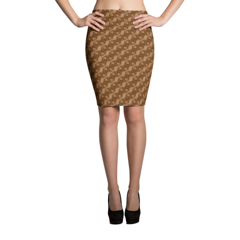 Ribbons Pencil Skirt Orange - Stradling Designs