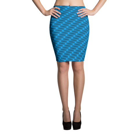 Neon Wavy Lines Turquoise Pencil Skirt - Stradling Designs