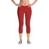 Neon Wavy Lines Red Capri Leggings