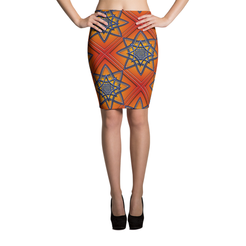 Orange Tile 1 Pencil Skirt - Stradling Designs