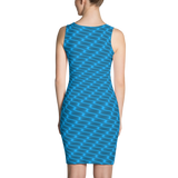 Neon Wavy Lines Turquoise Dress - Stradling Designs
