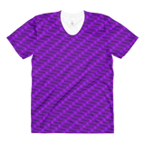 Neon Wavy Lines Purple Women's Crew Neck T-shirt - Stradling Designs