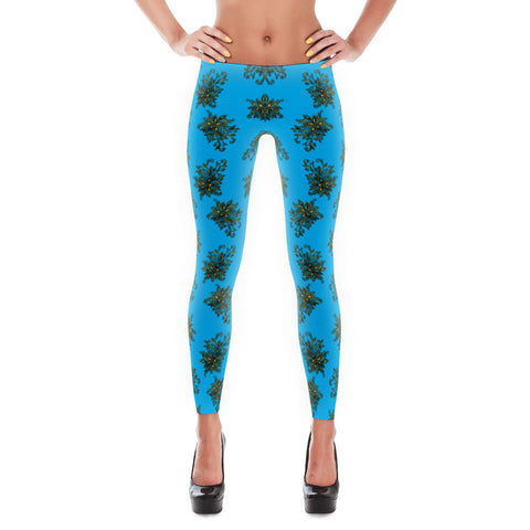 Printful Gold Flower 1 All-over Leggings Front View