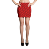 Neon Wavy Lines Red Mini Skirt - Stradling Designs