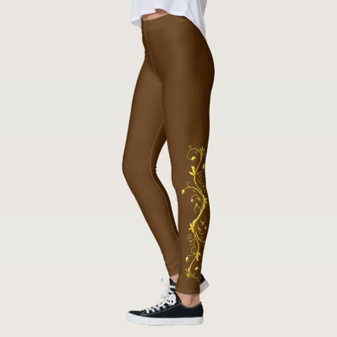 Yellow Roses Half-Up on Brown All-Over Leggings