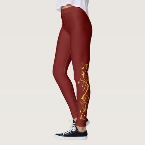 Yellow Roses Half-Up on Red All-Over Leggings