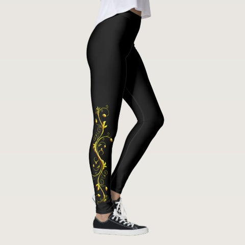 Yellow Roses Half-Up on Black All-Over Leggings - Stradling Designs