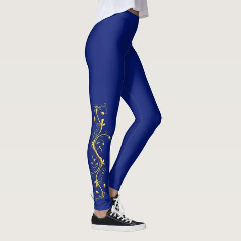 Yellow Roses Half-Up on Blue All-Over Leggings