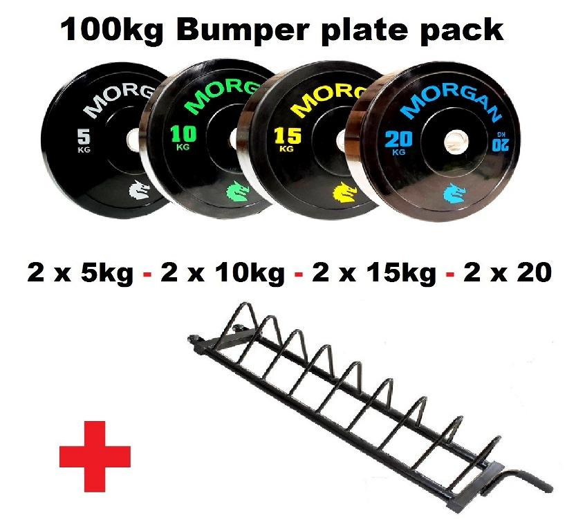 100KG Bumper Plate Pack + Storage Trolley