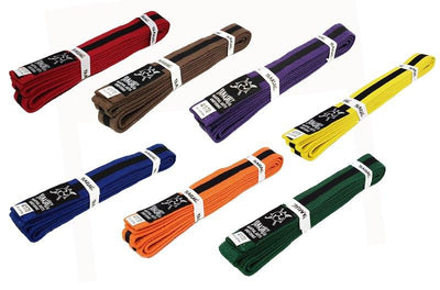 YAMASAKI COLOURED MARTIAL ARTS BELTS (WITH BLACK STRIPE)