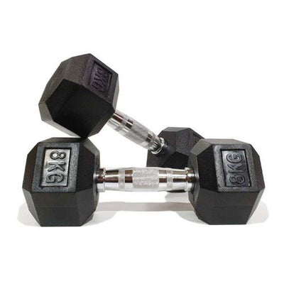 MORGAN RUBBER HEX DUMBBELLS - PAIR (2-3-4-5-6-7-8-9-10-12.5-15-17.5-20-22.5-25-27.5-30-32.5-35kg)
