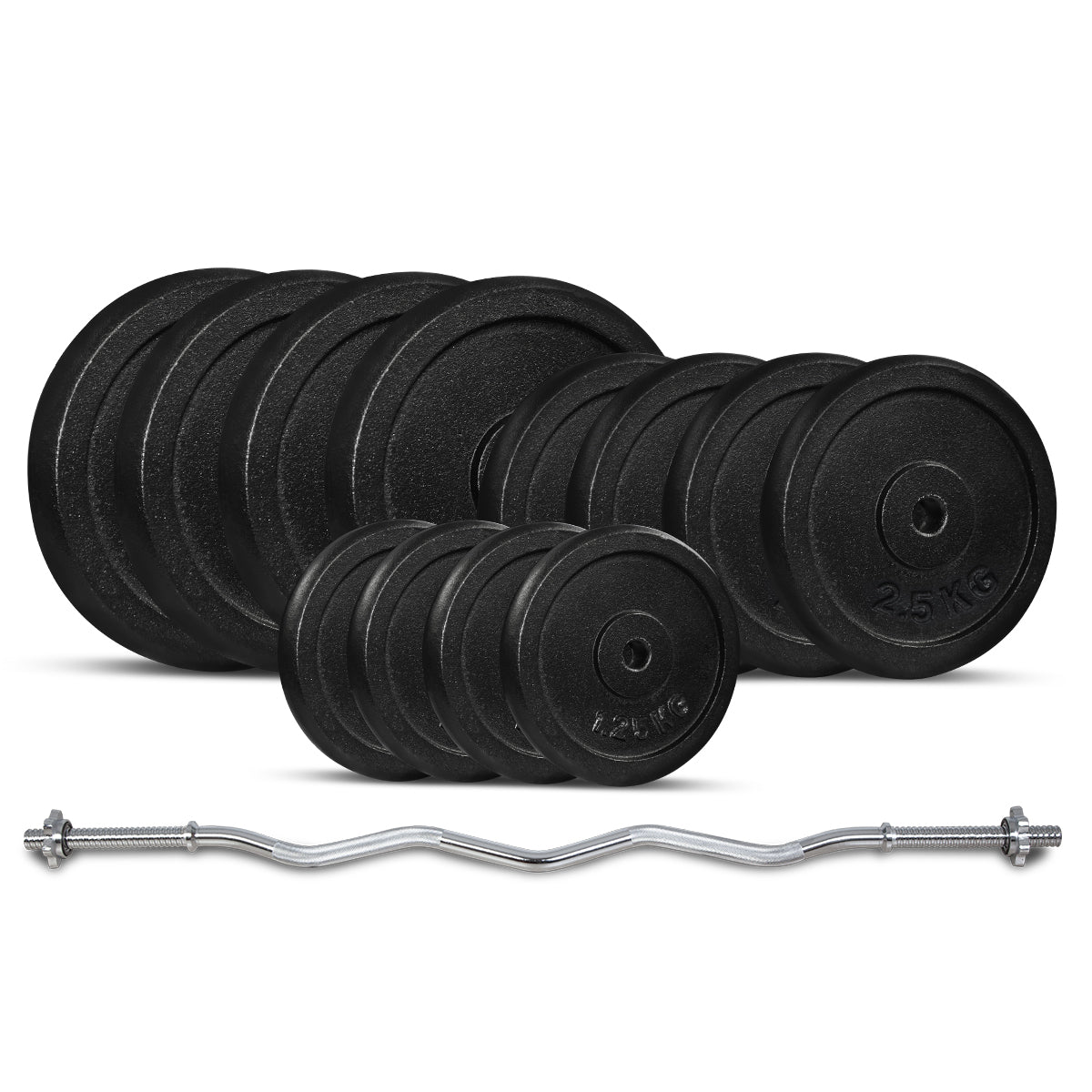 40KG Standard Curl Bar Weight Set