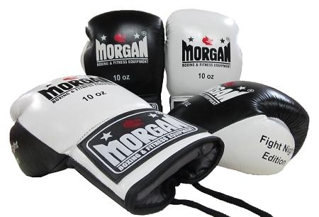 MORGAN LACE UP LEATHER  FIGHT NIGHT BOXING GLOVES (8 - 10oz)