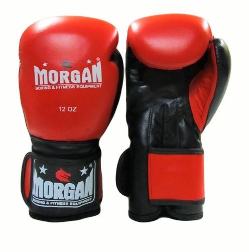MORGAN V2 HYBRID LACE & VELCRO LEATHER  BOXING GLOVES (8 - 12 & 16oz)