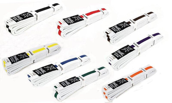 YAMASAKI WHITE MARTIAL ARTS BELTS (WITH COLOURED STRIPE)