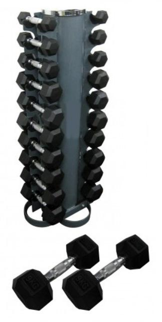 RUBBER HEX PACK 133KG (2-12.5kg) + VERTICAL STAND